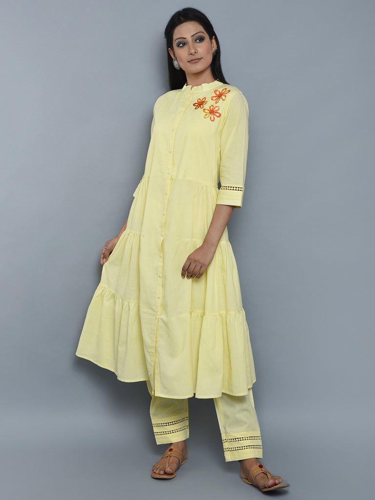 Yellow Mulmul Cotton Kurta and Pants - Set of 2