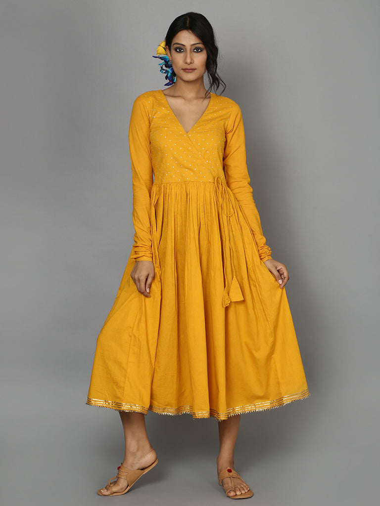 Yellow Ochre Cotton Mul Angrakha Dress