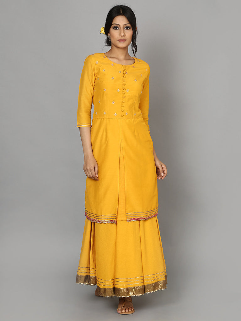 Yellow Ochre Cotton Silk Kurta with Embroidered Yoke