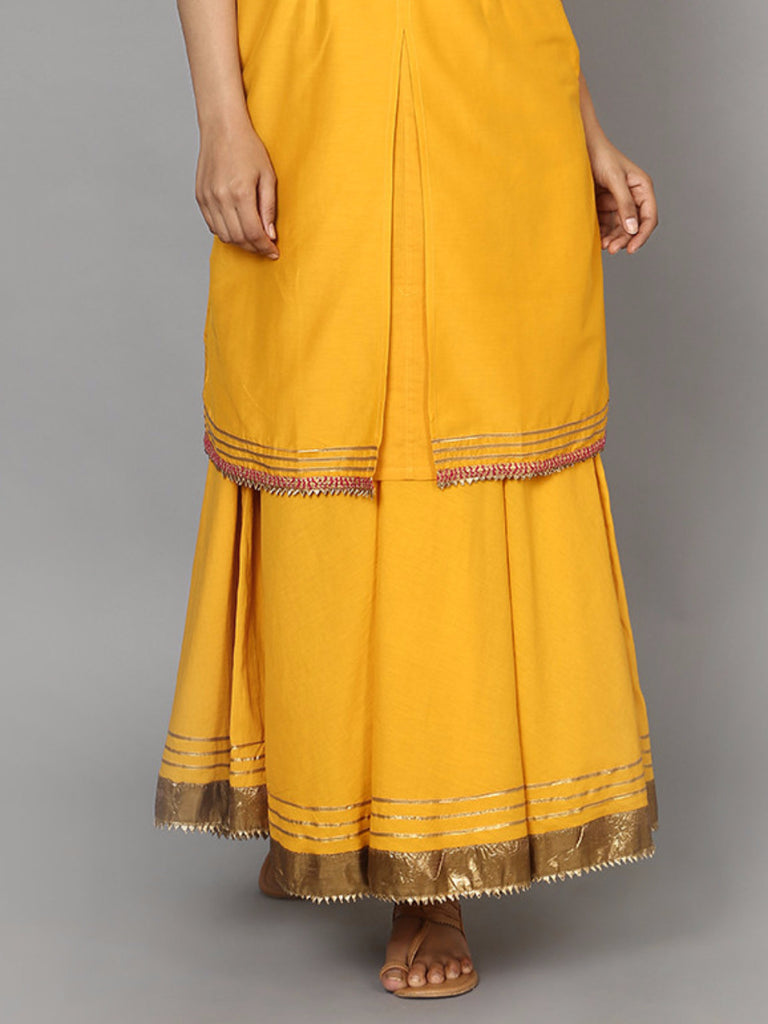 Yellow Ohre Cotton Mul Lehenga Skirt
