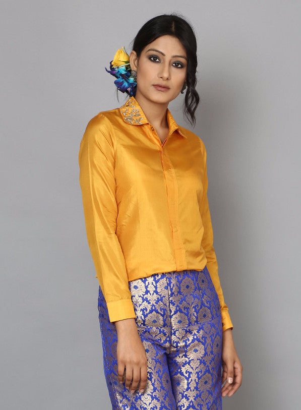 Yellow Ochre Silk Shirt