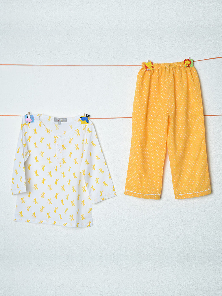 Sunshine Yellow White Dragon Fly Cotton Top with Pyjama - Set of 2