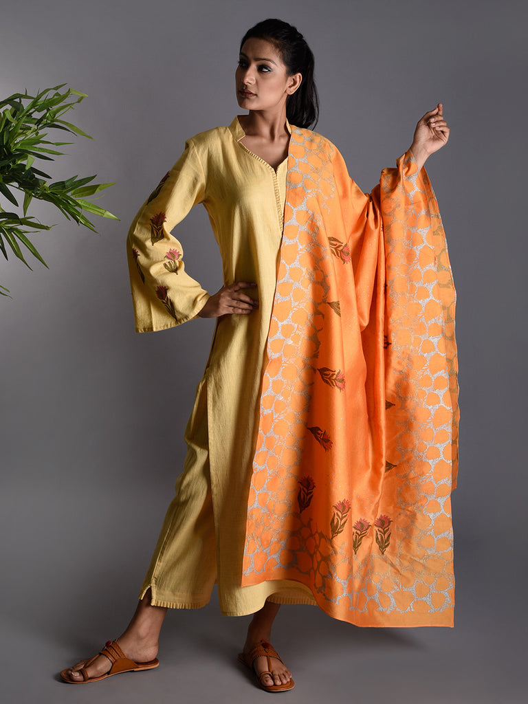 Yellow Orange Block Printed  Khadi Kurta and Pants with Chanderi Dupatta - Set of 3