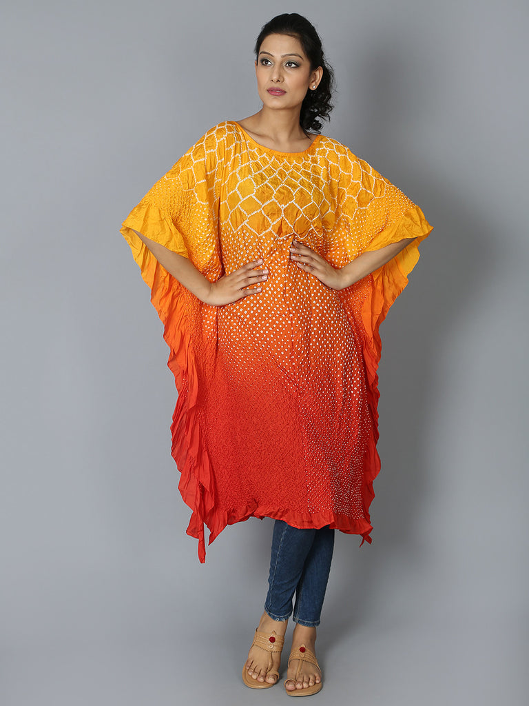 Yellow Orange Silk Flower Kaftan