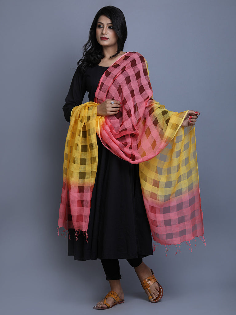 Yellow Pink Cotton Tie and Dye Handwoven Dupatta