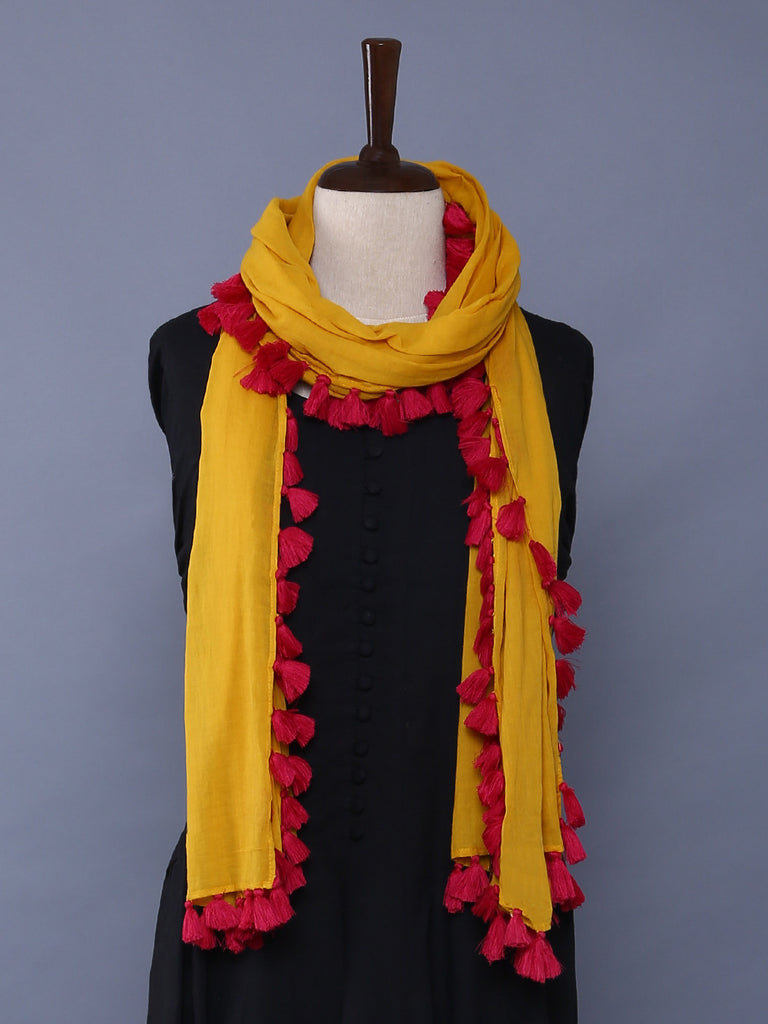 Yellow Pink Cotton Mulmul Tassel Stole