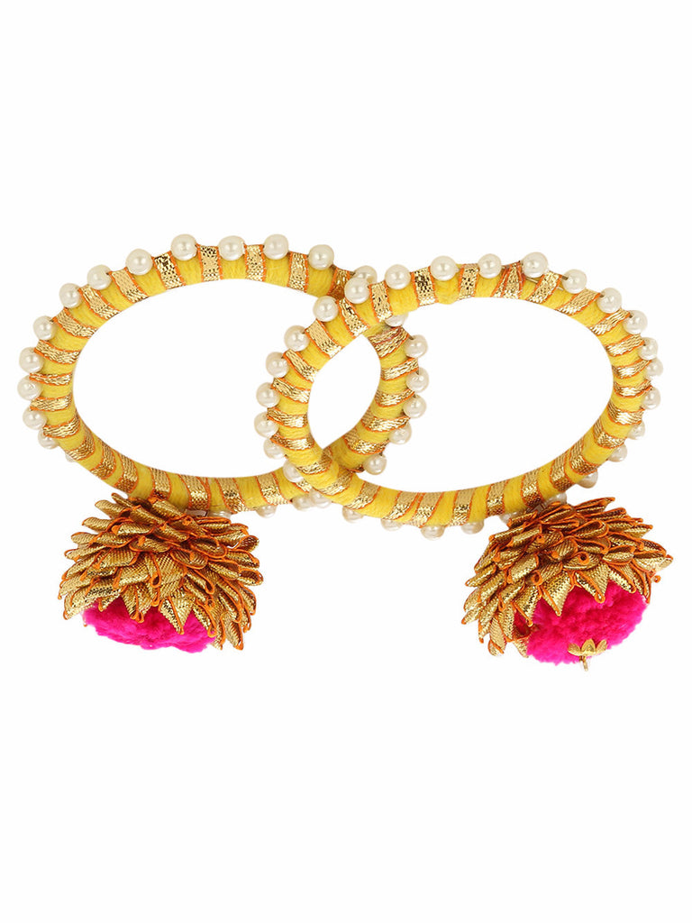 Yellow-Pink-Golden Gota Pearl Bangles