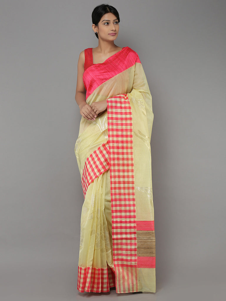 Yellow Pink Hand Woven Banarasi Cotton Silk Saree