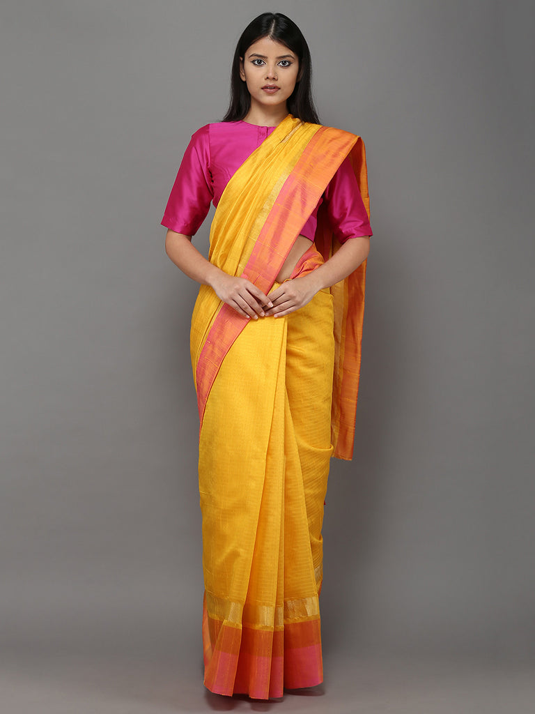 Yellow Pink Handwoven Banarasi Cotton Silk Saree