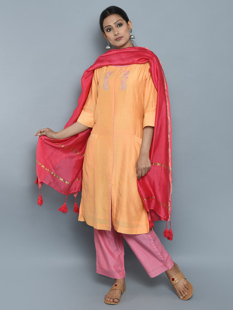 Yellow Pink Red Chanderi Cotton Suit - Set of 3