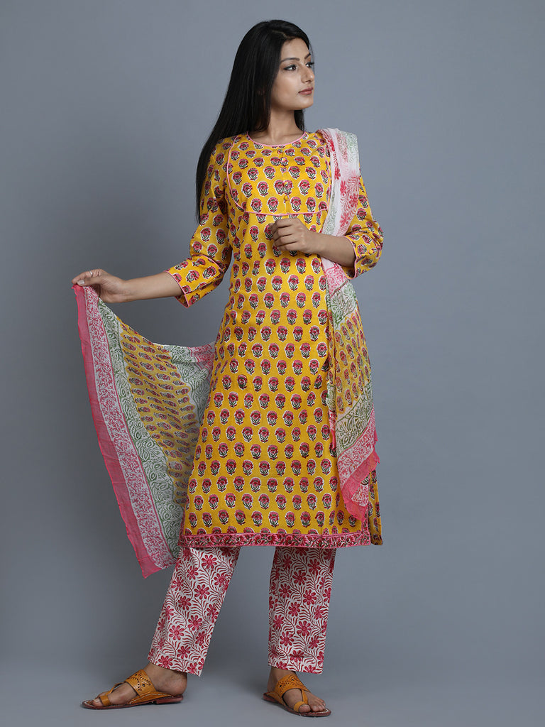 Yellow Pink Cotton Hand Block Kurta and Pants with Chiffon Dupatta - Set of 3