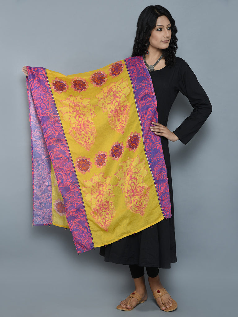 Yellow Purple Laxmi with Blooming Lotus Cotton Mul Dupatta