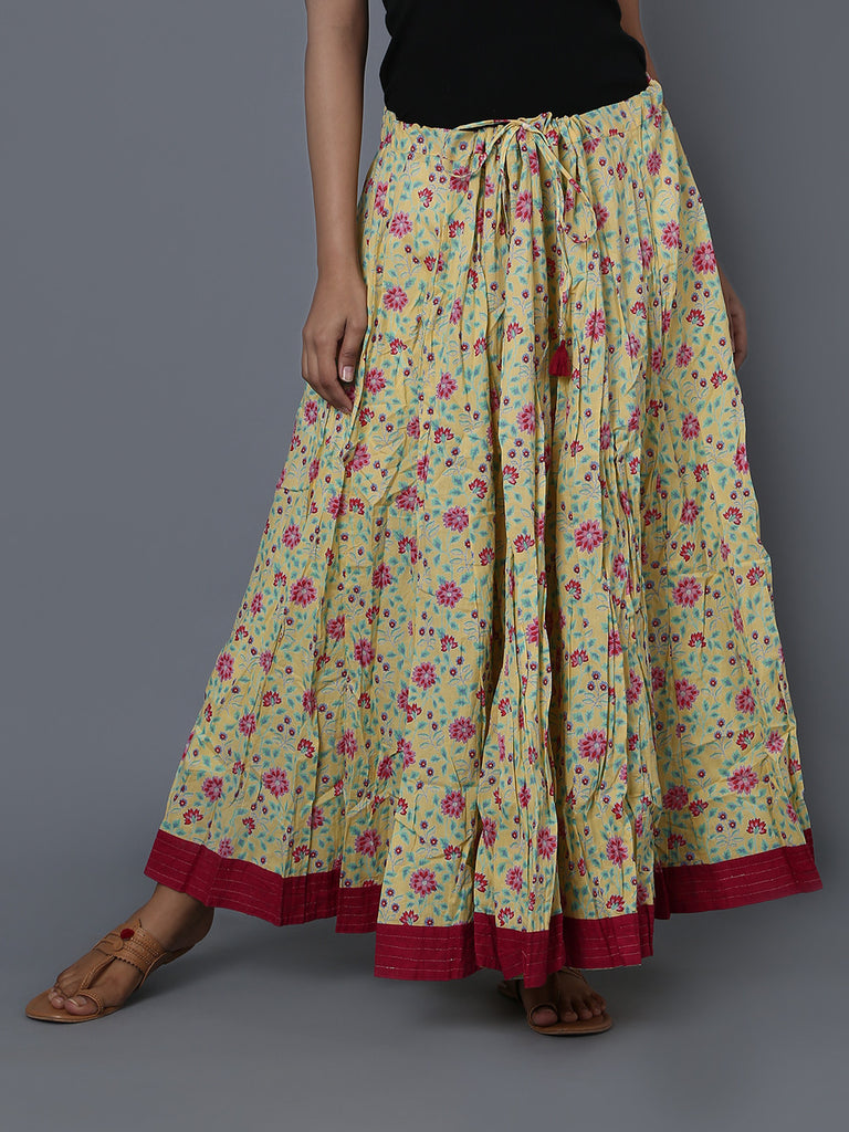 Yellow Red Cotton Crushed Skirt