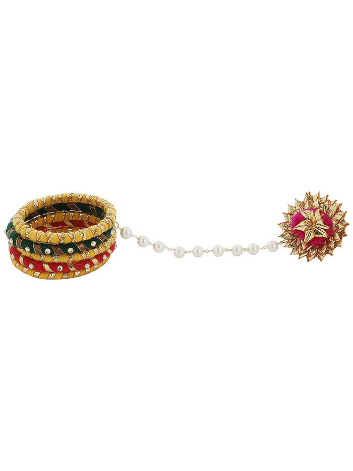 Yellow Green Red Pink Golden Gota Bangles with Pearl Gota Ring