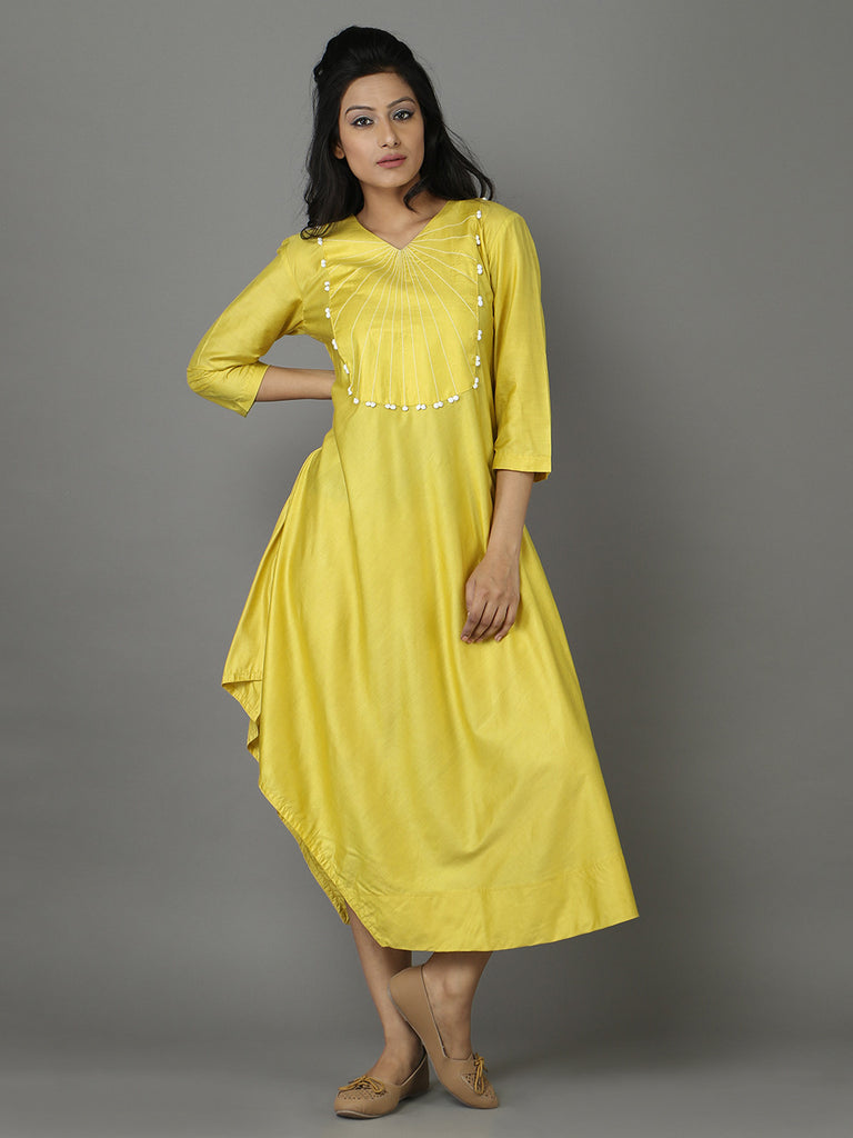 Yellow Cotton Silk Asymmetrical Tunic