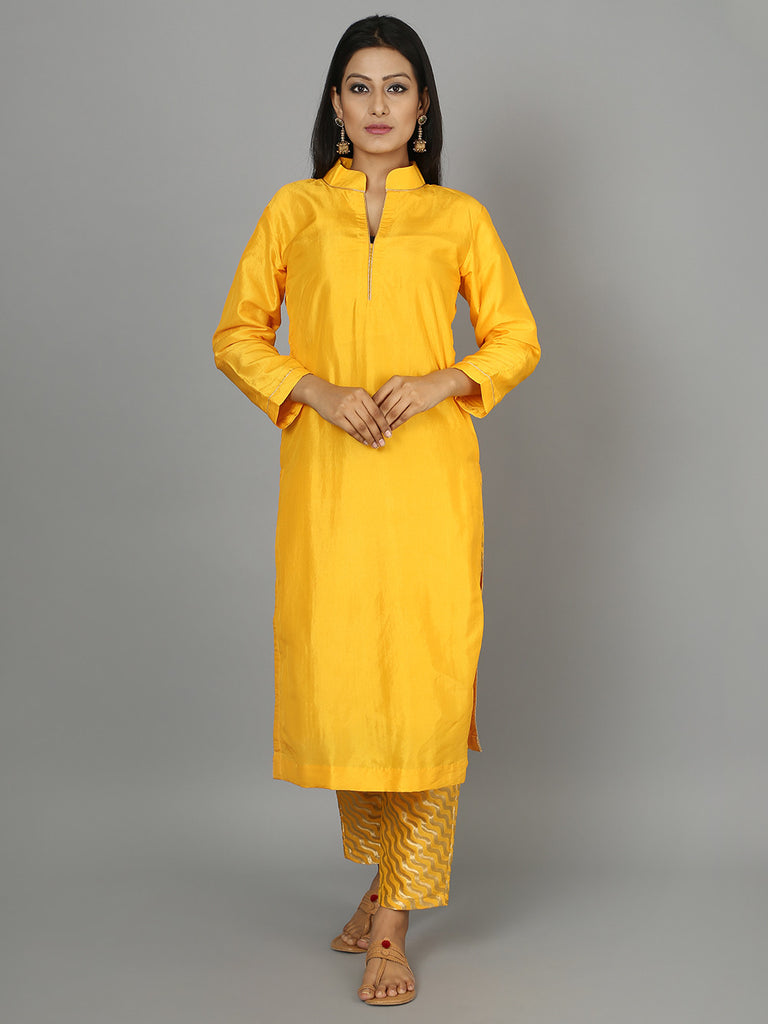 Yellow Silk Kurta with Pants - Set of 2