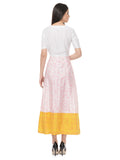 Yellow White Cotton Silk Maxi