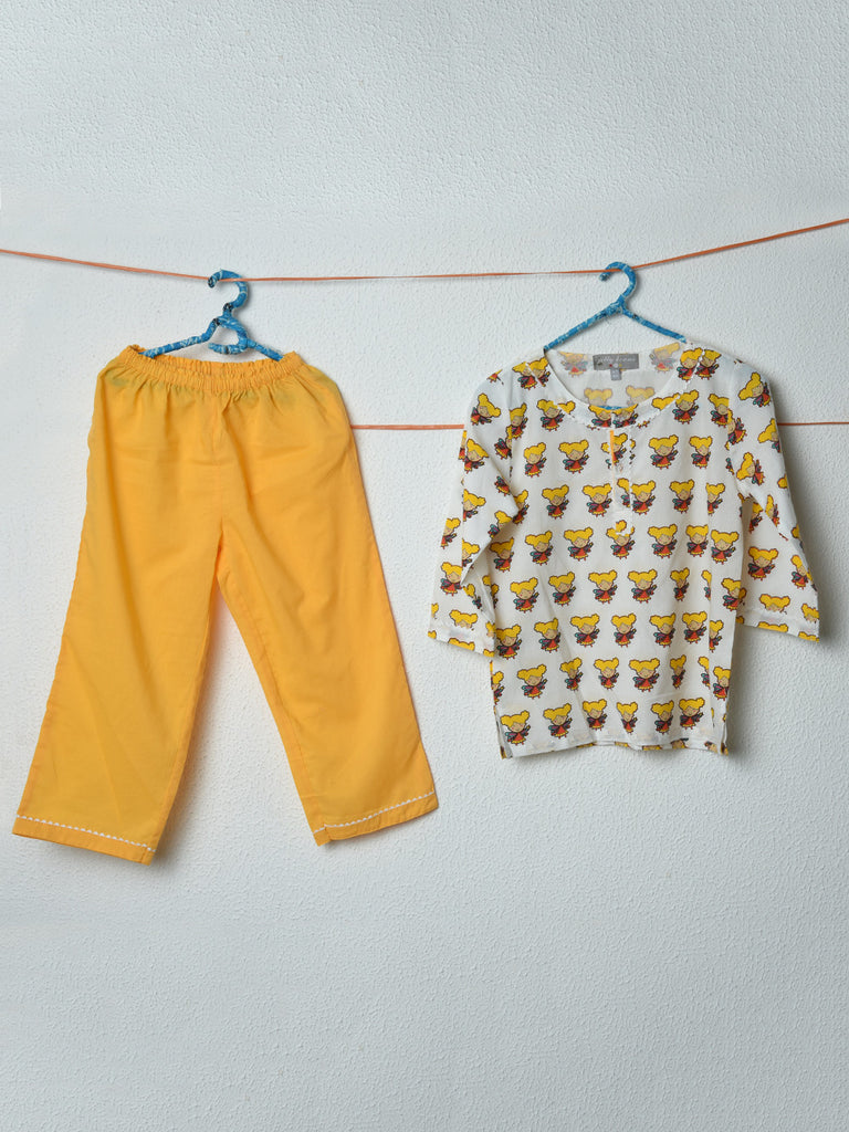 Yellow White Doll Cotton Top with Pyjama - Set of 2
