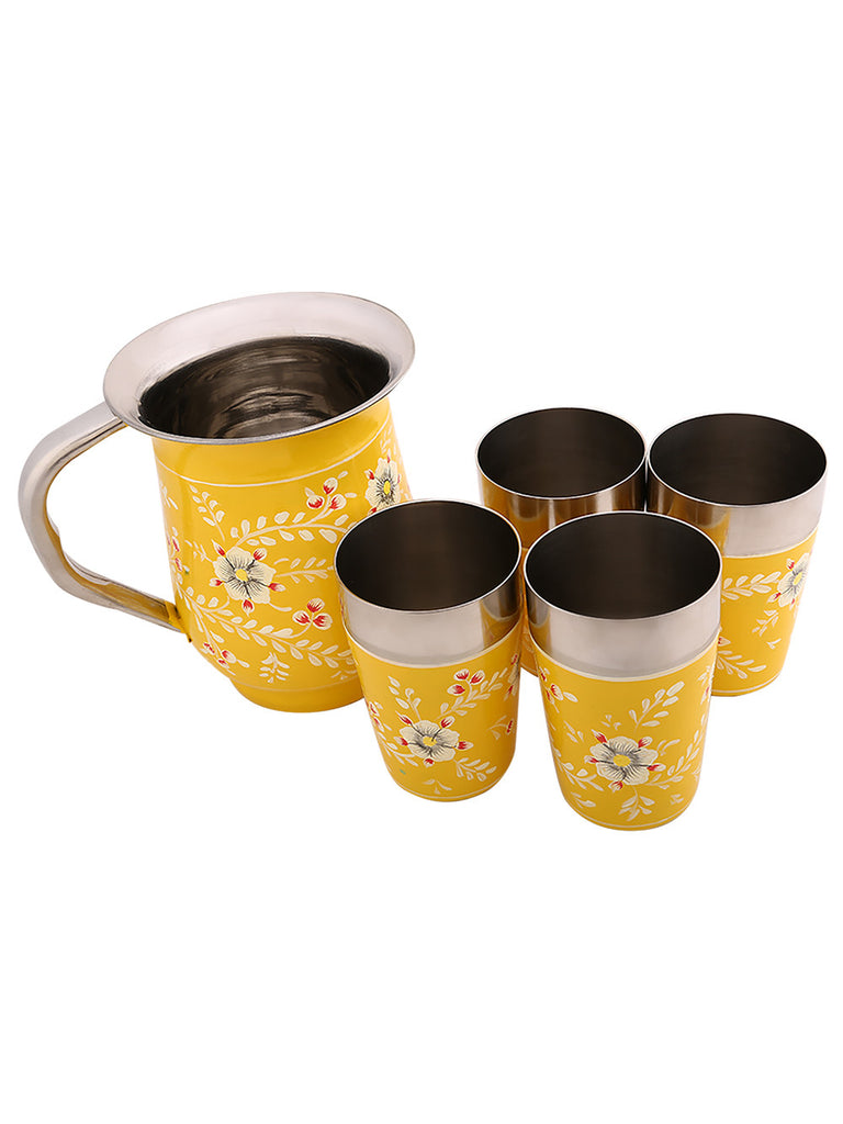Yellow White Hand Painted Jug with 4 Tumblers