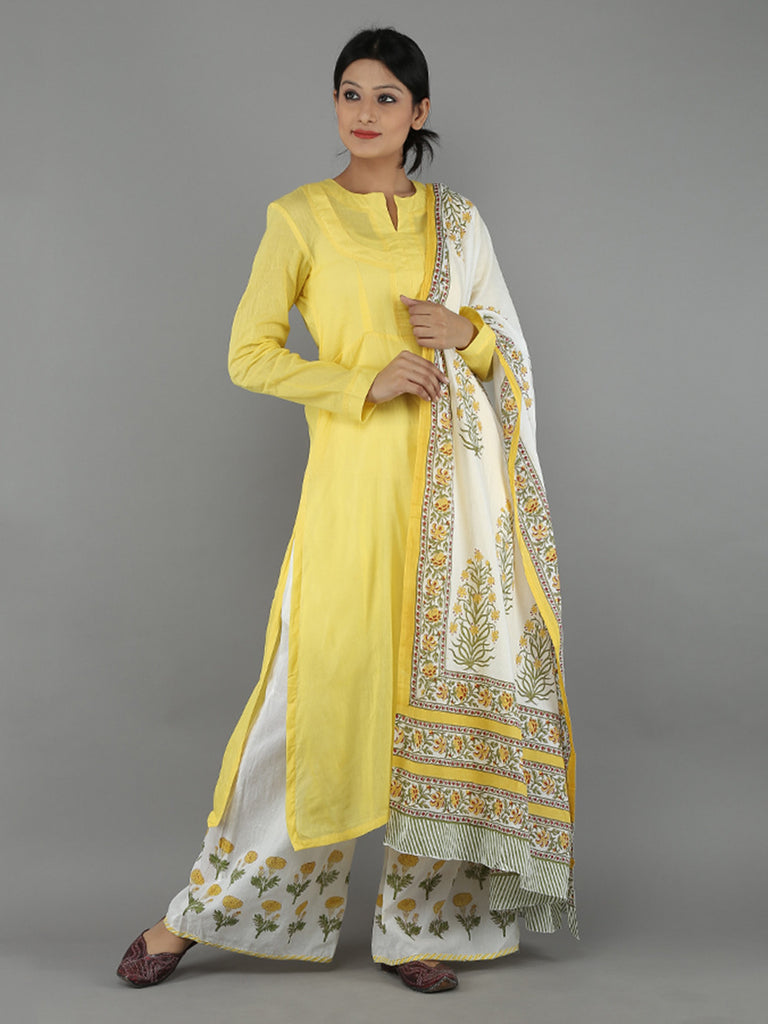 Yellow White Mulmul Cotton Suit - Set of 3