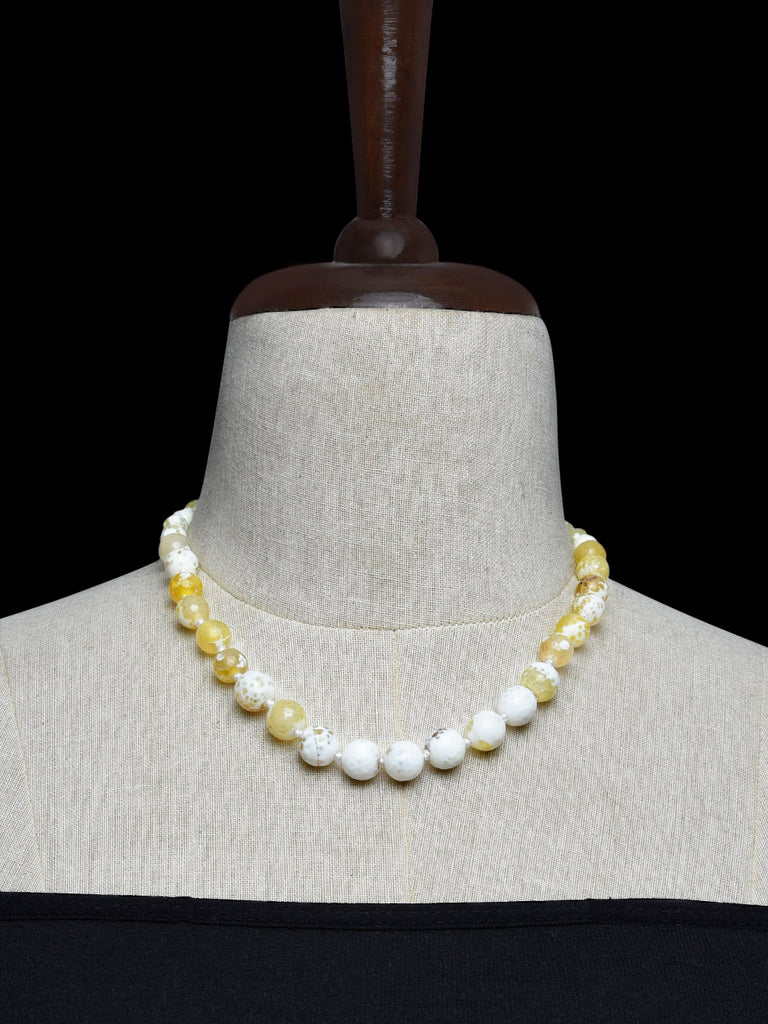 Yellow White Handcrafted Agate Stones Necklace