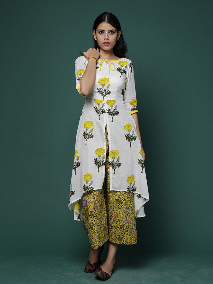 Off White Yellow Block Printed Cotton Cape with Yellow Wide Leg Pants - Set of 2