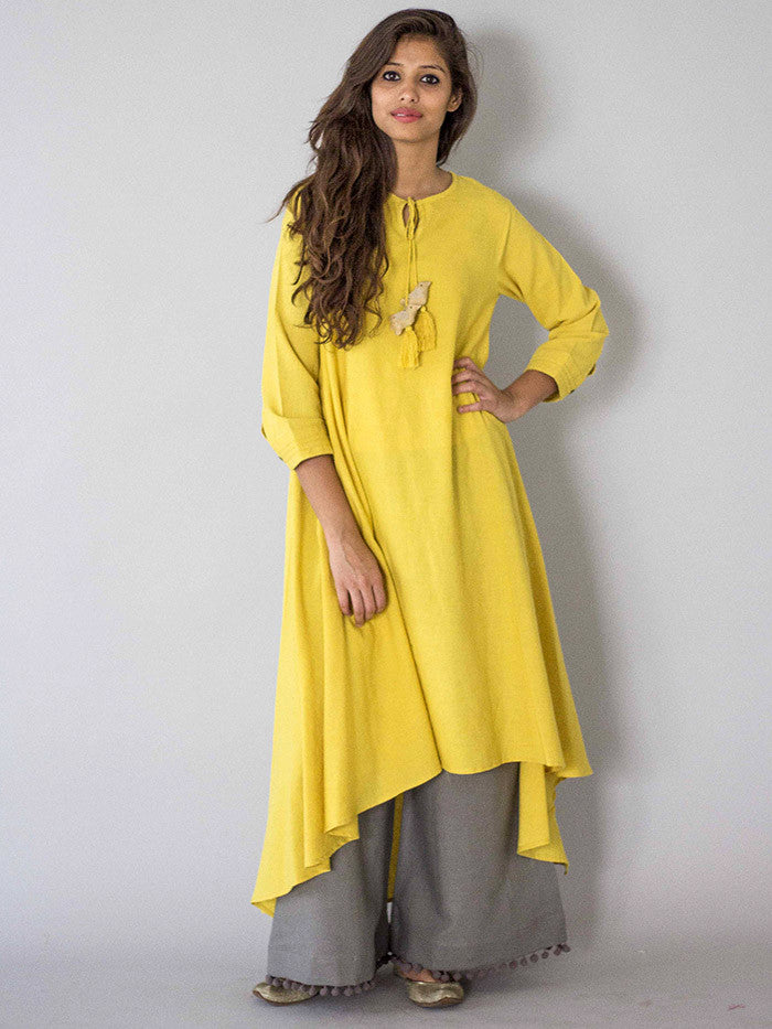 Yellow Chidiya Tassel Khadi Kurta with Grey Palazzo - Set of 2