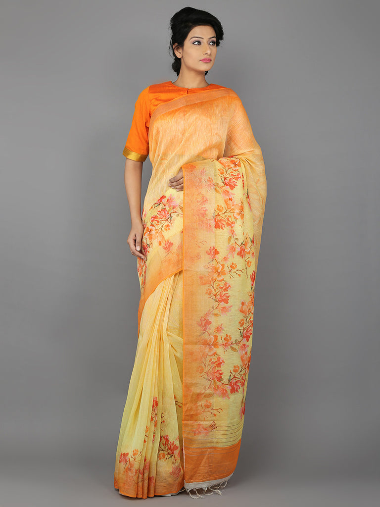 Yellow - Orange Digital Printed Handwoven Linen Saree
