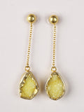 Yellow Druzy Chain Drop Earrings