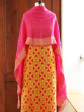 Yellow-Pink Handwoven Silk Suit Fabric