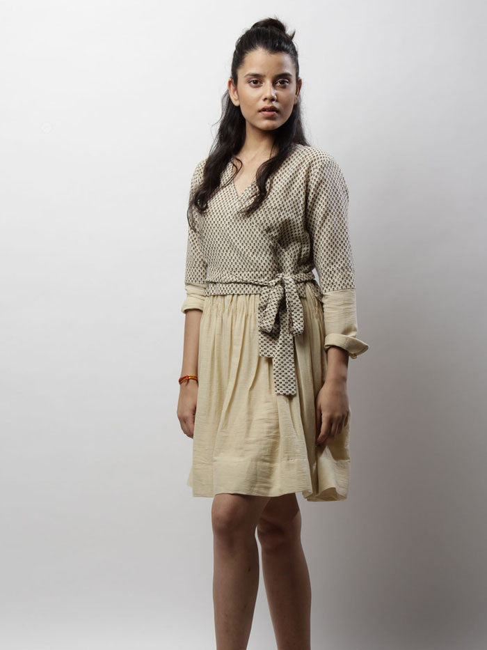 Beige Cotton Buta Wrap dress