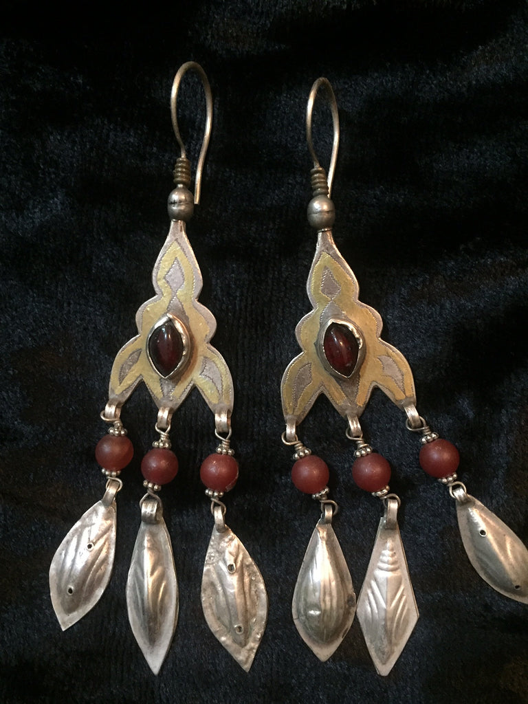 Afghanistan Bead Embellished Silver Earrings