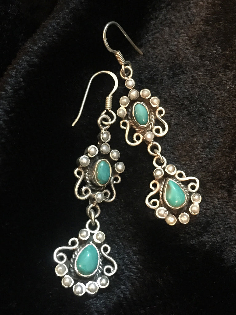 Turquoise Pearl Silver Earrings