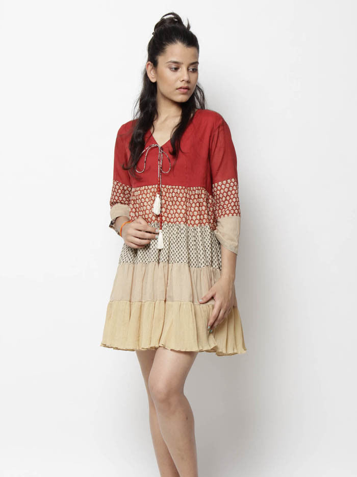 Red Beige Cotton Multi Panel Dress