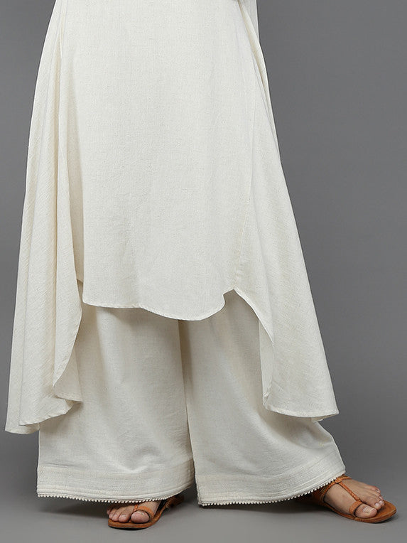 Off White Khadi Palazzo with Quilted Hem