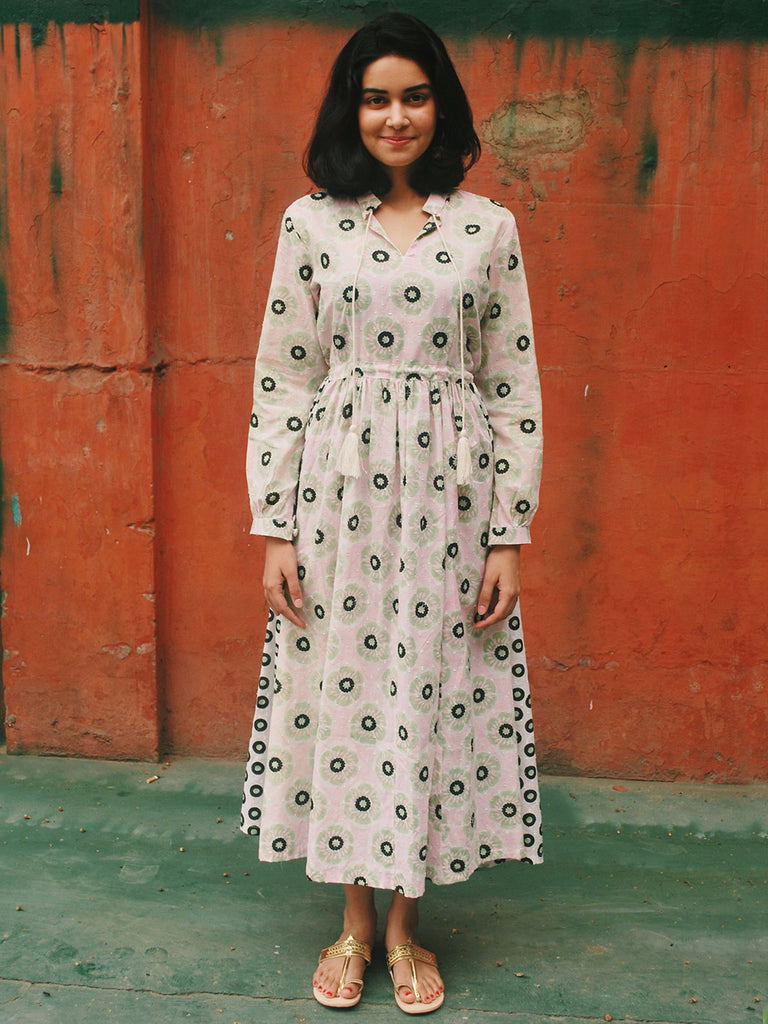Pink Green Cotton Peasant Dress