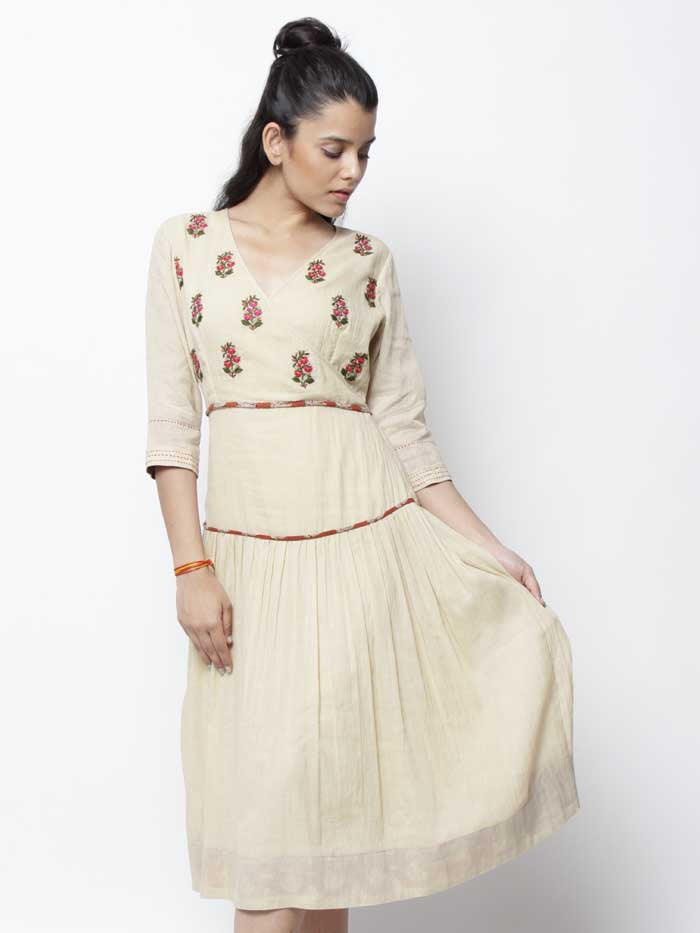 Beige Cotton Vintage Embroidered Kora Dress