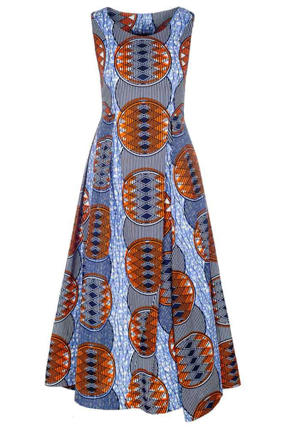 Kleid Aaliyah Blau-Orange