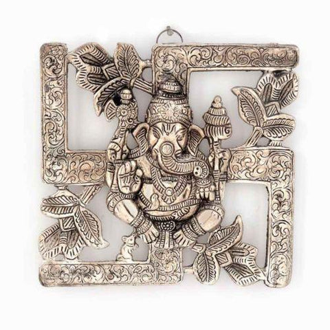 Antique Religious White Metal Swastik Ganesha Adorable Wall Hanging - {variant_title}} - Religious Gift Item - vunk - www.tcgonlinestore.com - www.tcgonlinestore.com