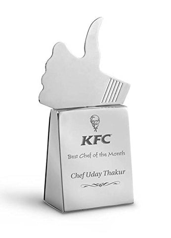 Stainless Steel Thumbs Up Trophy with Wide Base
