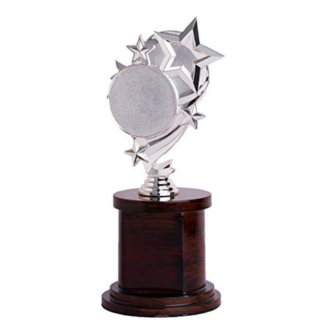 Bajaj Impex BI1011 Metallic-Wood Trophy Awards(Silver & Brown)