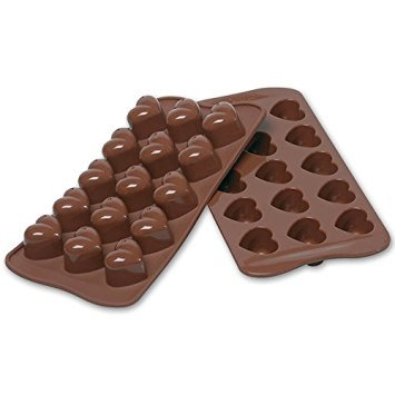 Inditradition Silicone Chocolate Making Mould, Heart Shape, 15 Slots, Food Grade, Brown