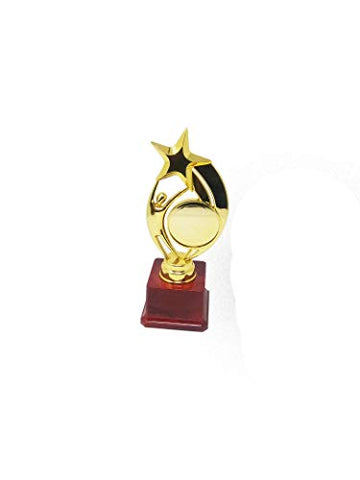ONE Star with ONE Round in Human Resin Trophy Made of Resin in Gold Finish. Base Made of Plastic - GIFTCENTRE-TROPHY-MUR-553-A