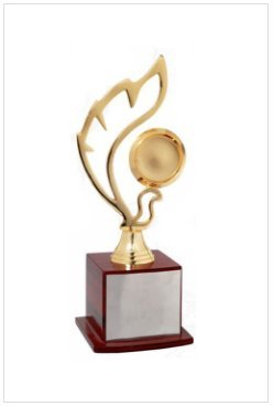 Golden Flame Shaped Trophy