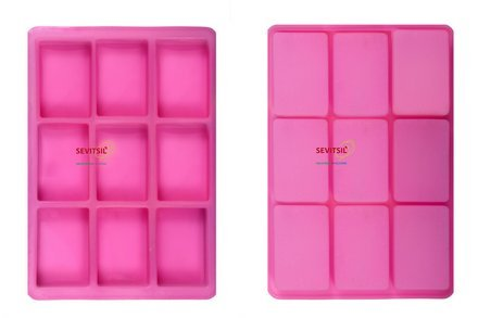 Silicone Soap Mould, 125 Grams Rectangular - 9 Cavities -Sevitsil - Assorted Colours