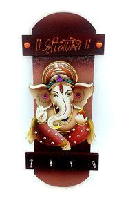 Wooden Wall Hanging Key Holder with Lord Ganesh Picture - {variant_title}} - ganesh key holder - vcc - www.tcgonlinestore.com - www.tcgonlinestore.com