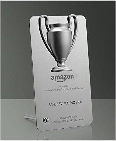 Stainless Steel Winner Cup Desk Trophy with Stand (in Gift Box)