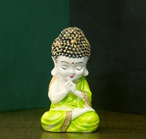 JaipurCrafts Premium Child Monk Showpiece - 20.00 cm (Polyresin, Golden, Green)- for Home Decor| Office Decor Diwali Decor| Vaastu Decor| Fengshui