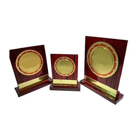 Z S Novelties Brown Wooden Supirior Quality Trophy_ZS 238 - Set of 3