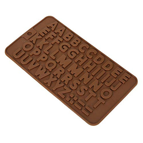 Electomania Silicone Alphabets Shape Chocolate Jelly Candy Mold, Cake Baking Mold, Bakeware Mould (Brown)